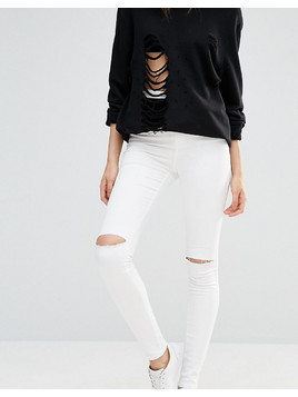 Missguided Tall Vice High Waisted Slash Knee Super Stretch Skinny Jean - White