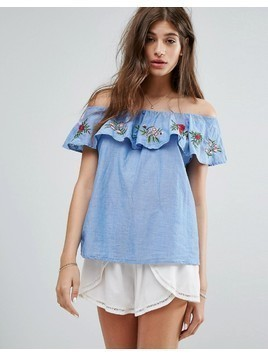 Pimkie Floral Embroidered Bardot Top - Blue