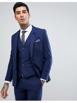 Harry Brown Blue Flannel Slim Fit Wool Blend Suit Jacket - Blue