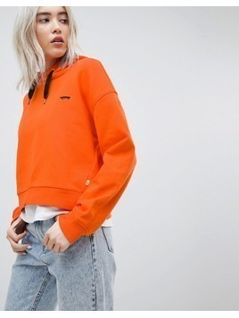 Vans Logo Hoodie In Orange - Orange