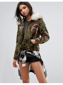 Only Camo Parka With Borg Lining - Multi