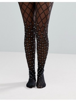 Wolford Pearl Net Tights - Black