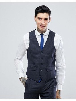Harry Brown Charcoal Mini check Slim Fit Suit Waistcoat - Grey