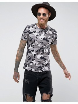 Noose&Monkey Muscle Fit T-Shirt in Camo Print - Grey