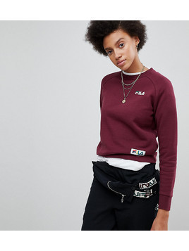 Fila Boyfriend Sweatshirt With Woven Chest Logo - Red