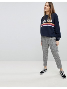 Pull&Bear Check Peg Trouser With Cuff Leg - Grey