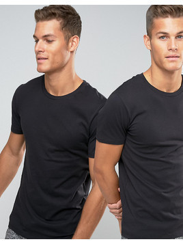 Levi's Crew Neck T-Shirt In 2 Pack In Regular Fit - Black