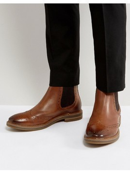 Base London Riley Leather Brogue Chelsea Boots - Tan