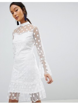 Parisian Polka Dot Mesh Shift Dress - White