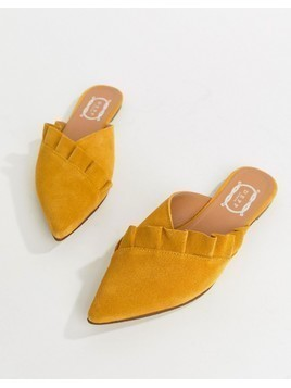 Depp Flat Mules - Yellow