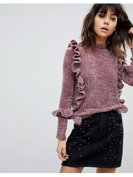 River Island Chenille Cable Knit Frill Jumper - Purple