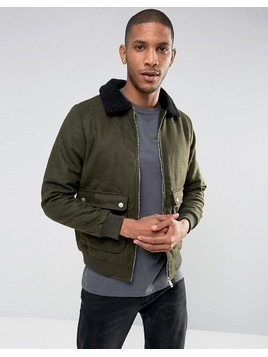 Brave Soul Wool Harrington with Borg Collar - Green