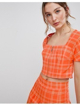 Unique 21 Square Neck Fitted Top With Zip Front In Check Co-Ord - Orange