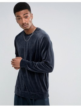 Weekday Curt Velvet Sweatshirt - Blue