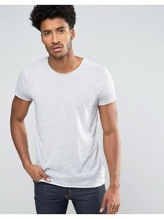 Solid T-Shirt With Raw Edges - Grey