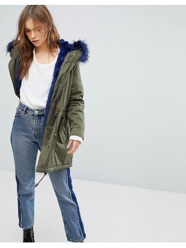 Bershka Parka Coat With Faux Fur Hood And Trim - Green
