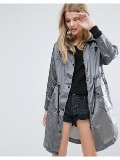 New Look Metallic Lightweight Parka - Silver