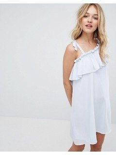 Monki One Shoulder Ruffle Swing Dress - Blue