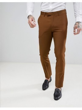 Harry Brown Slim Semi Plain Textured Suit Trousers - Brown