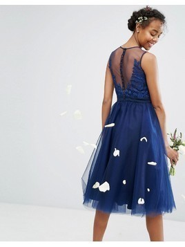 Chi Chi London Embroidered Tulle Midi Dress With Button Back - Navy