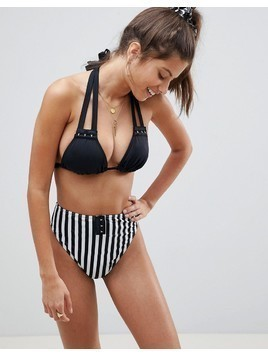 ASOS FULLER BUST Mix and Match Supportive Triangle Bikini Top with Hook and Eye DD-F - Black