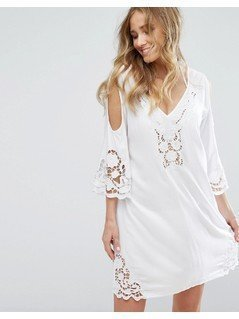 Boohoo Cold Shoulder Lazer Cut Beach Cover Up - White