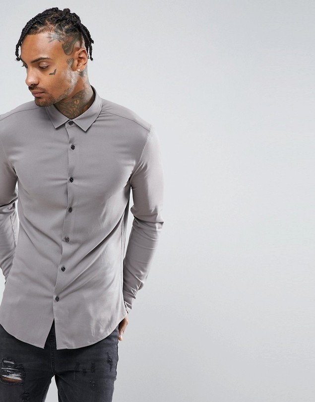 ASOS Skinny Viscose Shirt In Grey - Grey