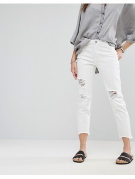 Noisy May Boyfriend Destroyed Ankle Cut Jeans - White