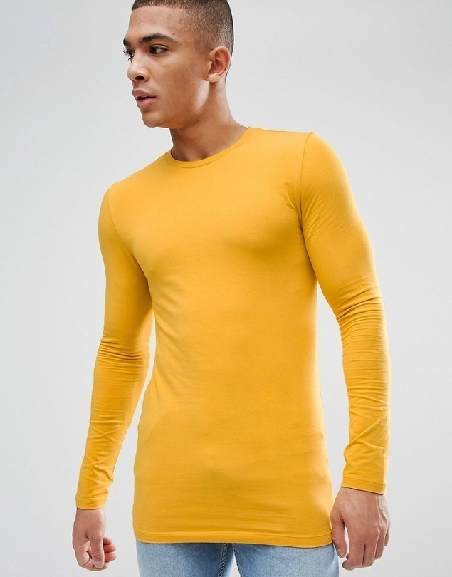 ASOS Longline Muscle Fit T-Shirt With Long Sleeves In Yellow - Yellow