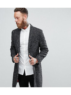 Noose&Monkey Shawl Collar Overcoat In Fleck - Grey