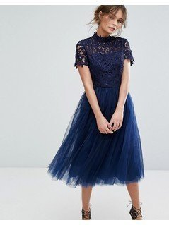 Chi Chi London High Neck Lace Midi Dress With Tulle Skirt - Navy