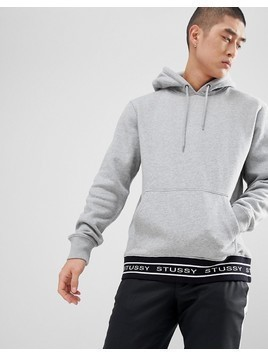 Stussy Hoodie With Jacquard Rib in Grey - Grey