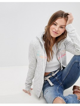 Hollister Zip Thru Hoodie with Multi Logo - Grey