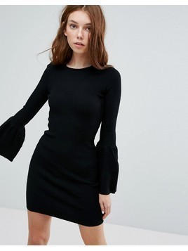 Bershka Flared Sleeve Ribbed Swing Dress - Black