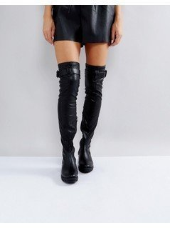Truffle Collection Buckle Trim Stretch Over Knee Boots - Black