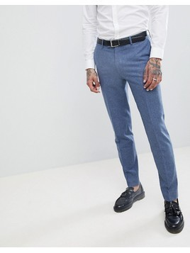 Harry Brown Wedding Wool Blend Blue Donegal Skinny Fit Trousers - Blue