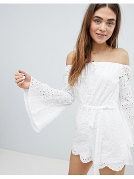 Parisian Broderie Off Shoulder Playsuit - White