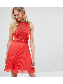ASOS TALL Lace Pinafore Pleated Mini Dress - Red