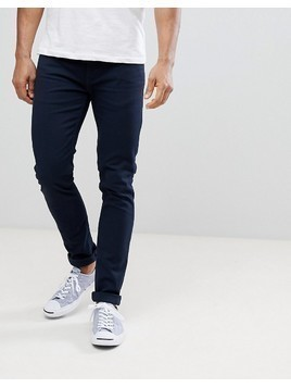 Farah Drake Twill Slim Fit Trousers in Navy - Navy