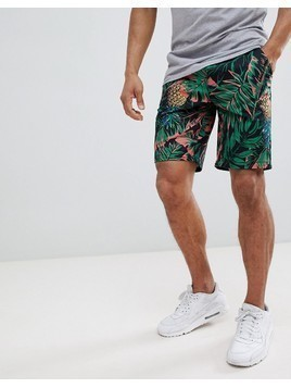 ASOS DESIGN Slim Shorts In Abstract Pineapple Palm Print - Pink