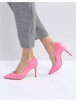 New Look Patent Pointed High Court Shoe - Pink