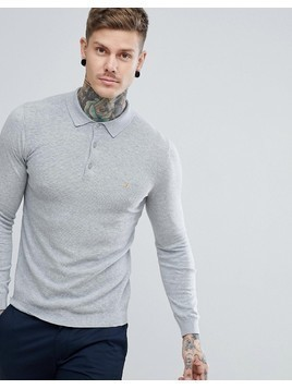 Farah Arndale Slim Fit Long Sleeve Polo in Grey - Grey