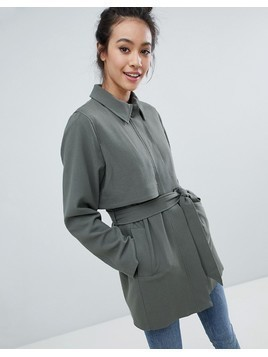 Monki 2 Part Button Up Coat - Green