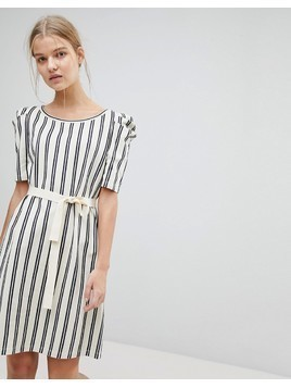 Max&Co Striped Shift Dress with Tie Waist - Multi
