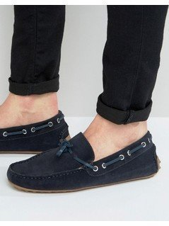 KG By Kurt Geiger Driving Loafers In Navy Suede - Blue