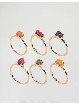 DesignB London Multi Coloured Crystal Stacking Rings - Multi