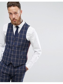 Harry Brown Slim Fit Blue Check Windowpane Waistcoat - Navy