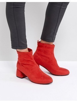 Park Lane Heeled Sock Boots - Red
