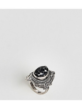 ASOS DESIGN Curve Large Stone Festival Ring - Silver