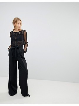 Pimkie Black Belted Wide Leg Trousers - Black